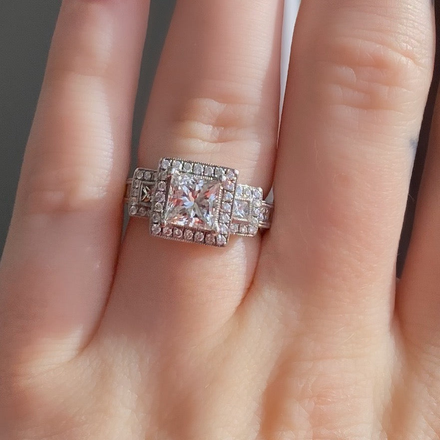 Complete Princess Cut Engagement Ring With Halo