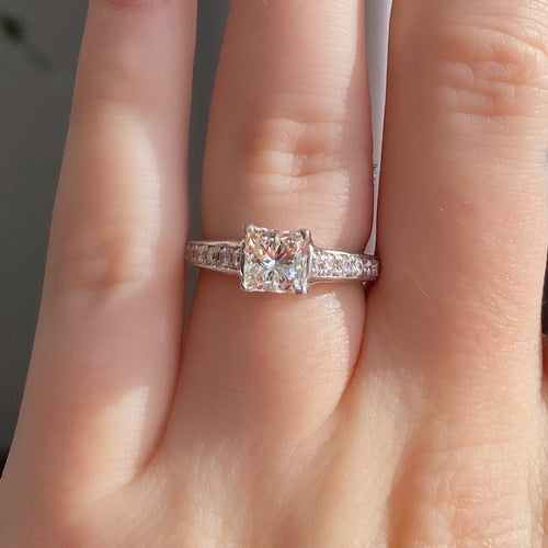 Complete Princess Cut Ring With Tapered Band