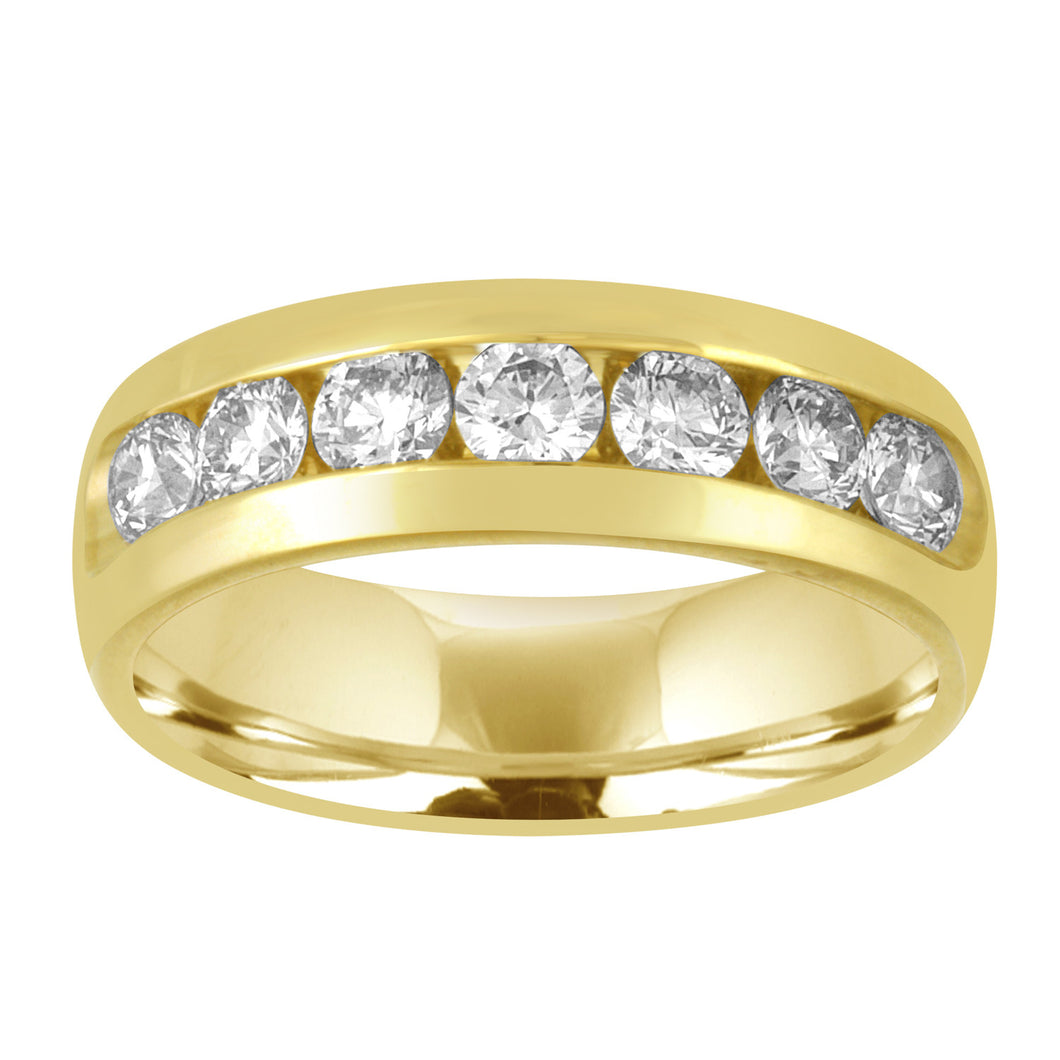 Men's 14kt Yellow Gold 7 Stone Diamond Channel Set Wedding Band