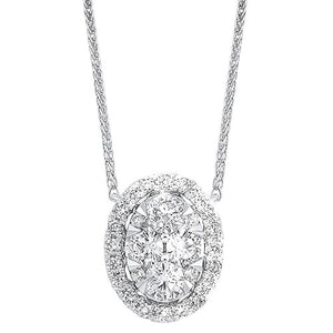 Diamond Starburst Eternity Oval Cluster Pendant Necklace In 14k White Gold (1/2 Ctw)