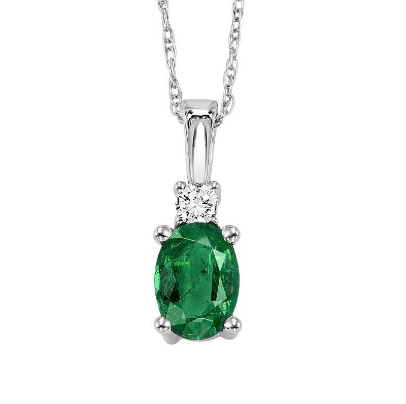 14kw color ens prong emerald necklace 1/25ct, fb1151-4wf