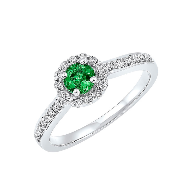 14kw color ens halo prong emerald ring 1/3ct, fb1136-4wf