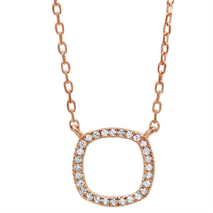 14kt Rose Gold Square Shaped Diamond Pendant