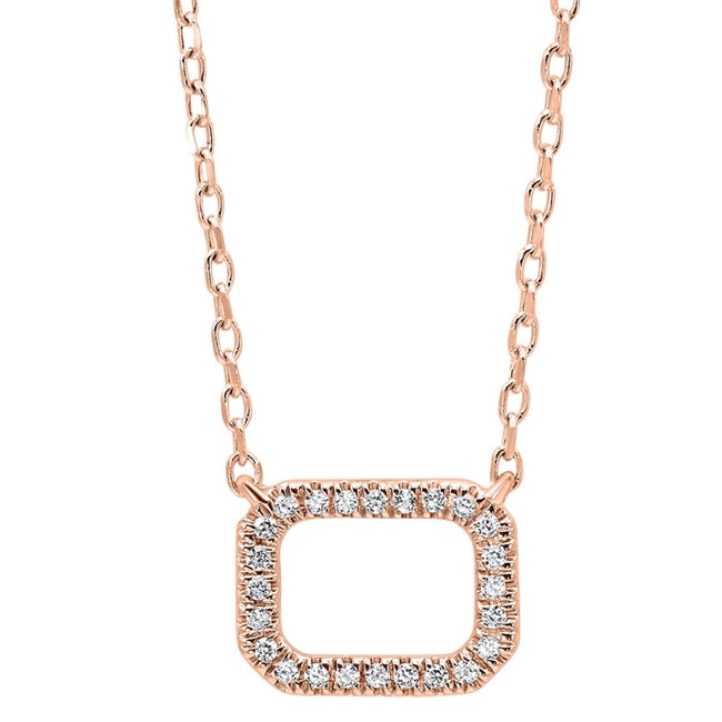 14kt Rose Gold Rectangle Shaped Diamond Pendant