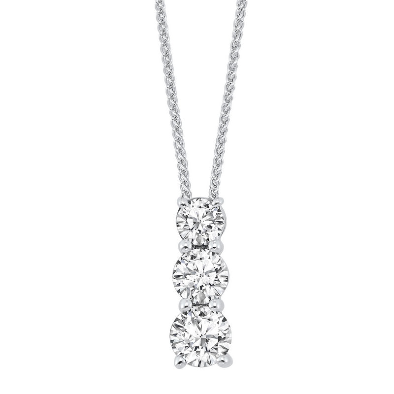 ss 3 stone prong diamond necklace  1/4ct, fr1267-1y