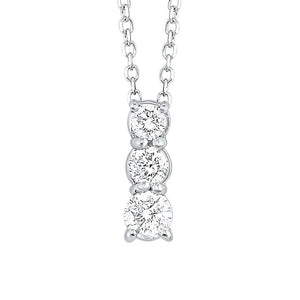 14kw 3 stone prong diamond necklace 1ct, fr1079-4w