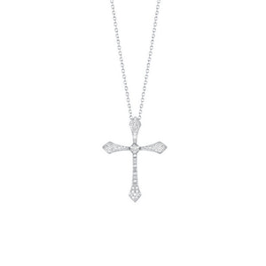 14kw cross shared prong diamond necklace 1/4ct, fr1241-4p