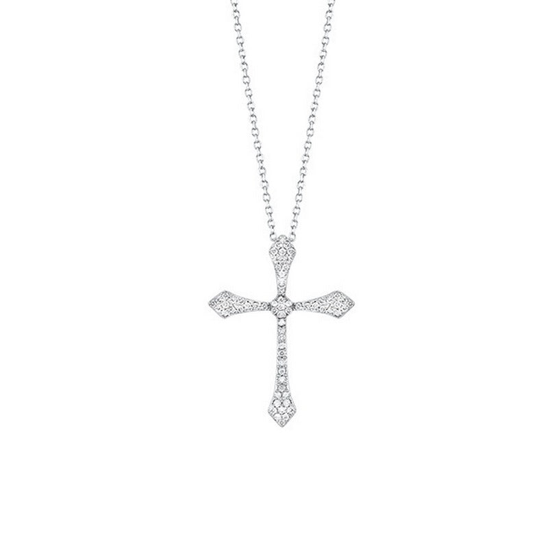 14kw cross shared prong diamond necklace 1/7ct, fr1217-1p