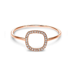 14kt Rose Gold Square Shaped Diamond Ring