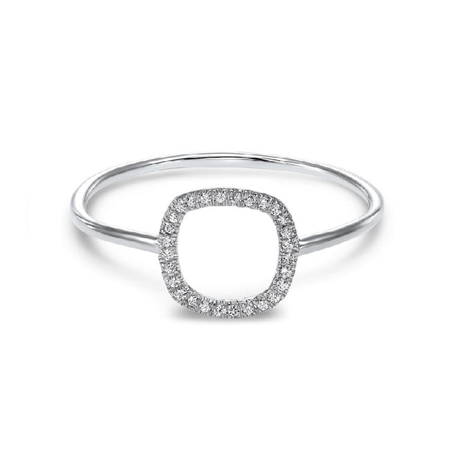 14kt White Gold Square Shaped Diamond Ring