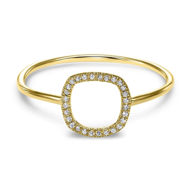 14kt Yellow Gold Square Shaped Diamond Ring
