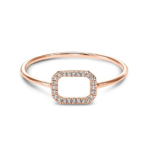 14kt Rose Gold Rectangle Diamond Ring