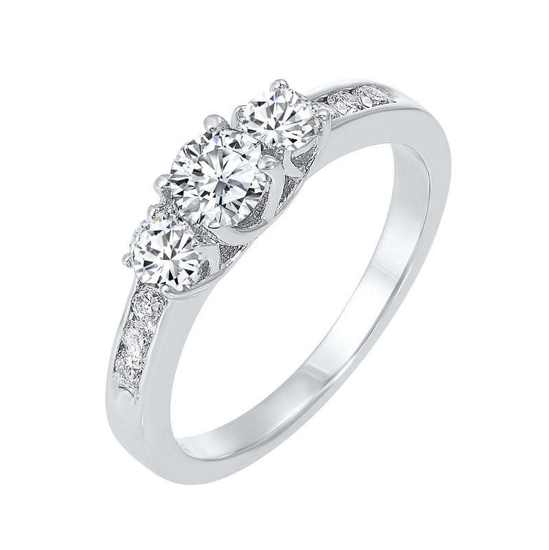 14kw 3 stone round prong ring 3/4ct, fr1234-4wd