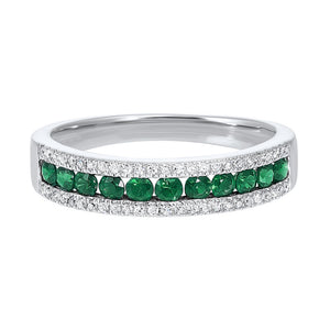 14kw 3 row multi channel diamond & emerald band 1/8ct, rg10054-1wd