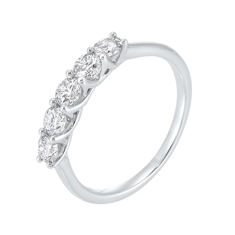 14kw 5 stone shared prong diamond band 1 1/4ct, fr4066-4wcr