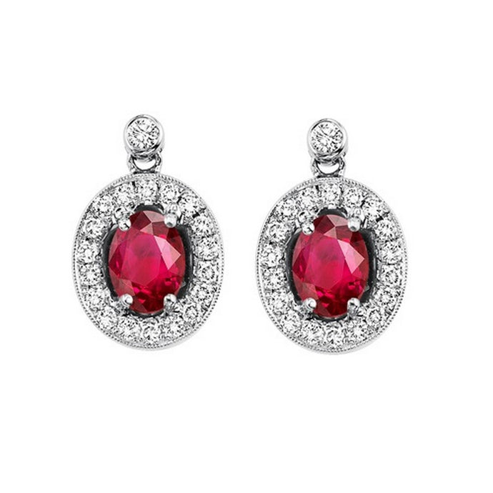 14kw color ens halo prong ruby earrings 1/4ct, rg68789-4wc