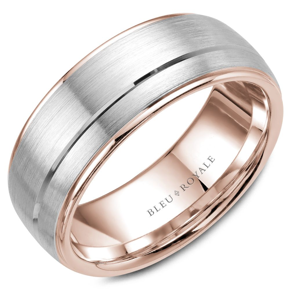Bleu Royale Rose and White Gold Mens Band RYL-002WR85