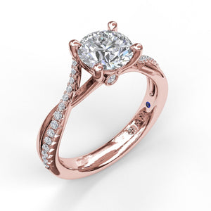 Alternating Diamond Twist Engagement Ring
