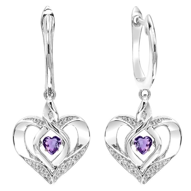 Silver Diamond & Created Amethyst Earring