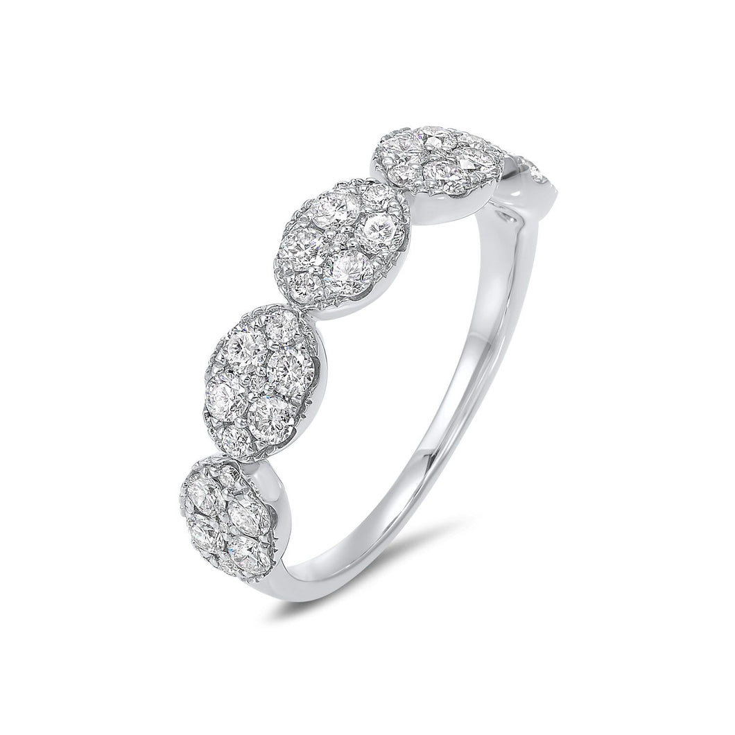 14K Oval shape Ring White Gold (.75 ctw)
