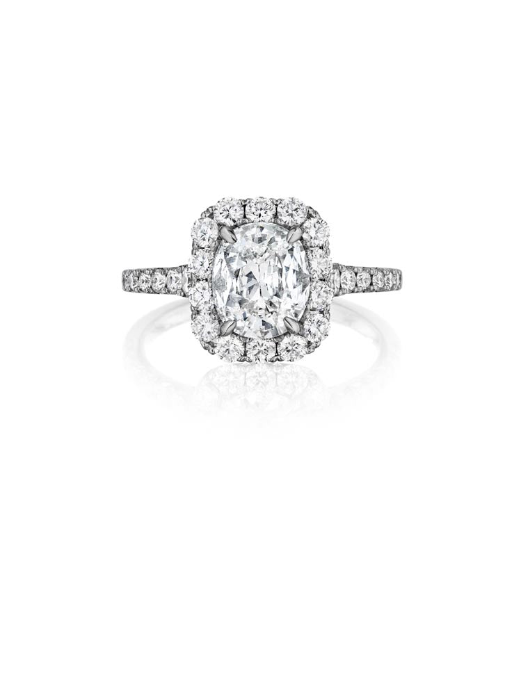 Henri Daussi Cushion Collection Diamond Ring (0.80 CTW)