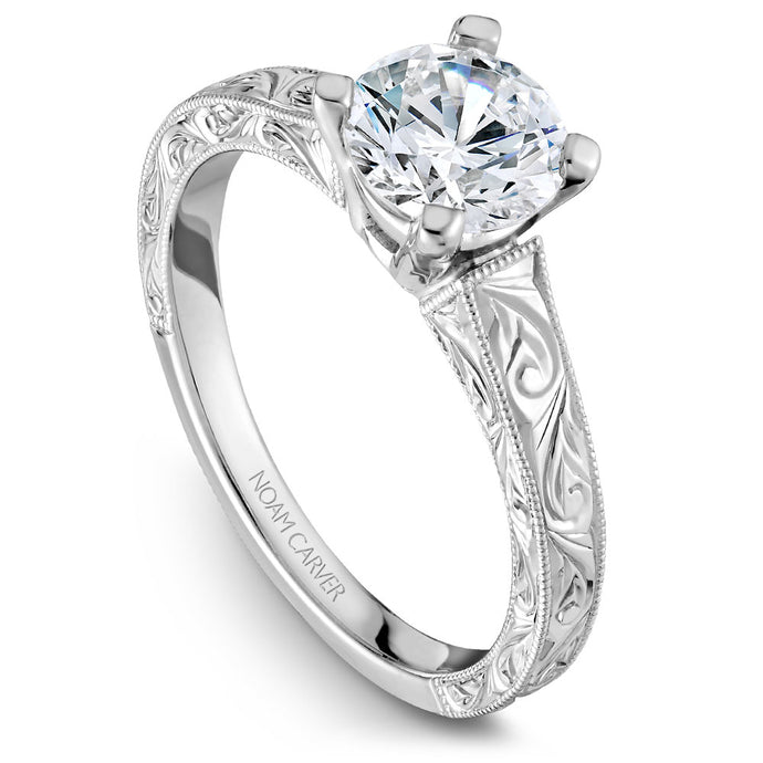 Noam Carver White Gold Carved Shank Engagement Ring