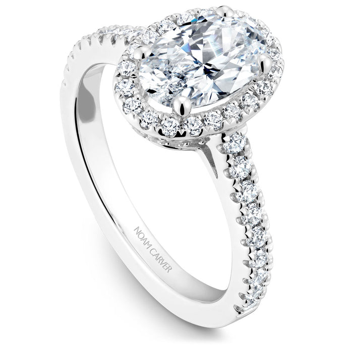 Noam Carver White Gold Diamond Engagement Ring with Oval Center Stone and Halo (0.57 CTW)
