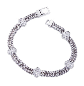 White Gold Double Row Braided Bracelet
