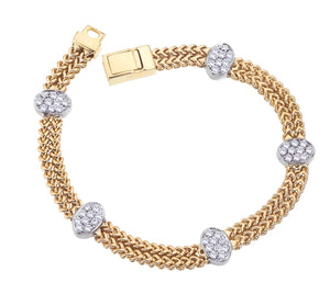 Yellow Gold Double Row Braided Chain Bracelet