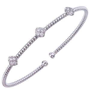 White Gold Twisted Bangle with Diamonds
