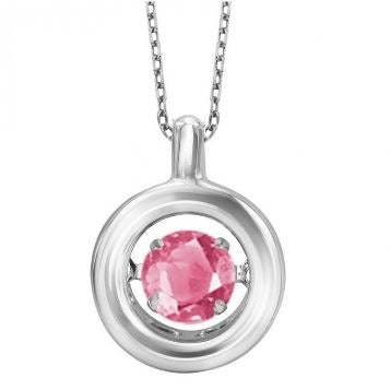 Pink Tourmaline and Silver Pendant