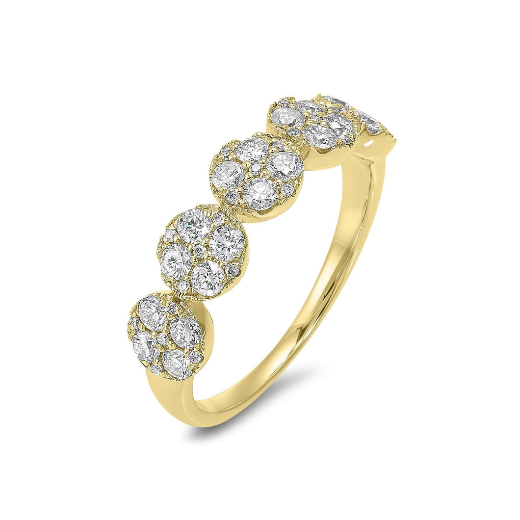 14K Round Shape Yellow Gold Ring (.75 ctw)