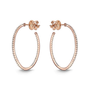 Memoire Hoops Rose Gold Round Diamond Earring (0.73 ctw)