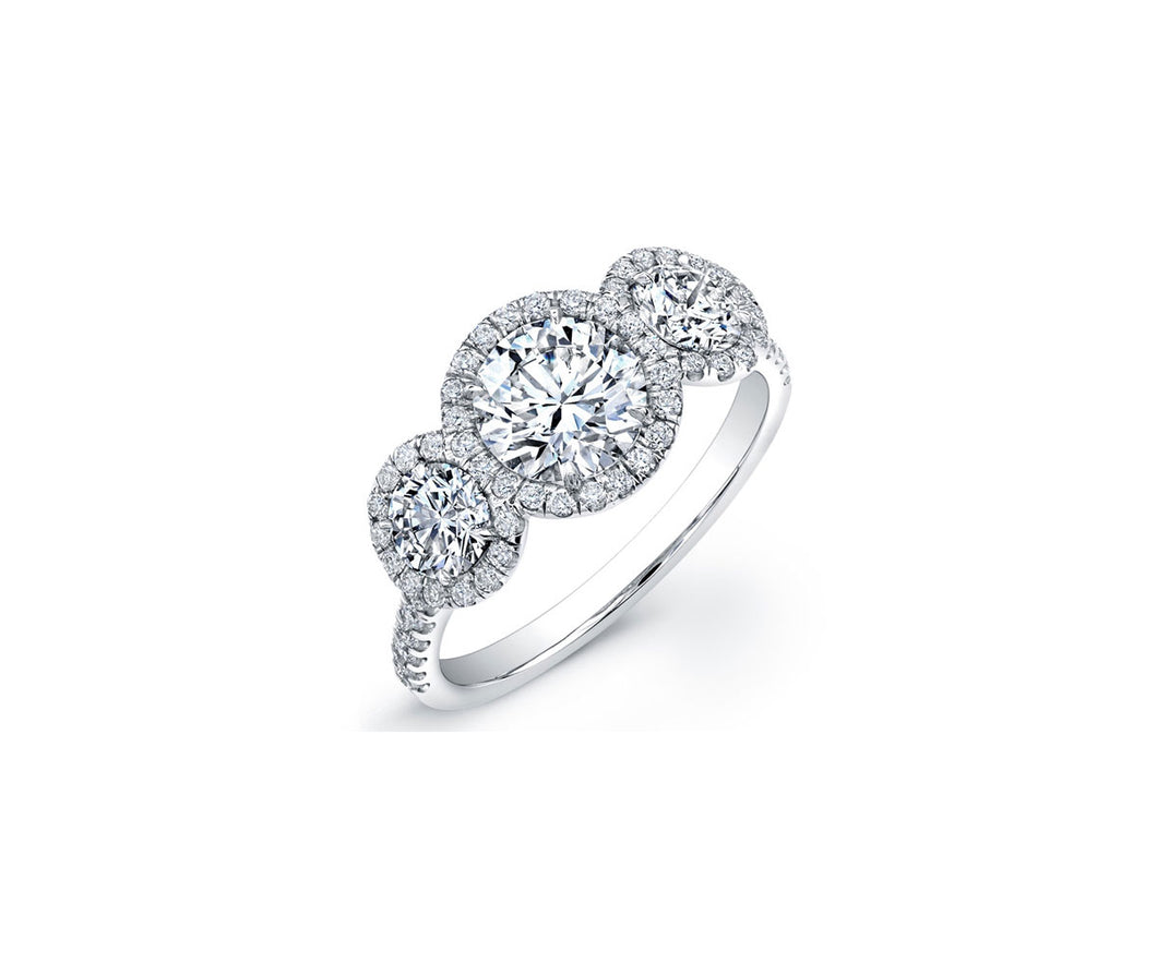 Forevermark Center Of My Universe™ Three Stone Halo Diamond Engagement Ring