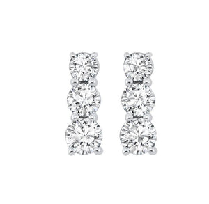 Silver and Diamond Three Stone Earrings (0.33 ctw)
