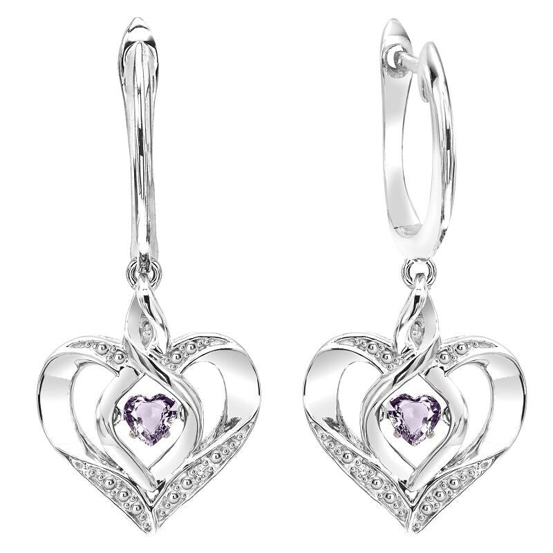 Silver Diamond & Created Alexandrite Earring