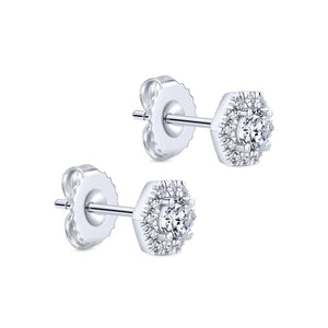 Gabriel Messier Collection White Gold Diamond Stud Earrings with Halo (0.51 CTW)