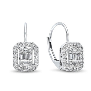 14K White Gold Diamond Baguette Earrings