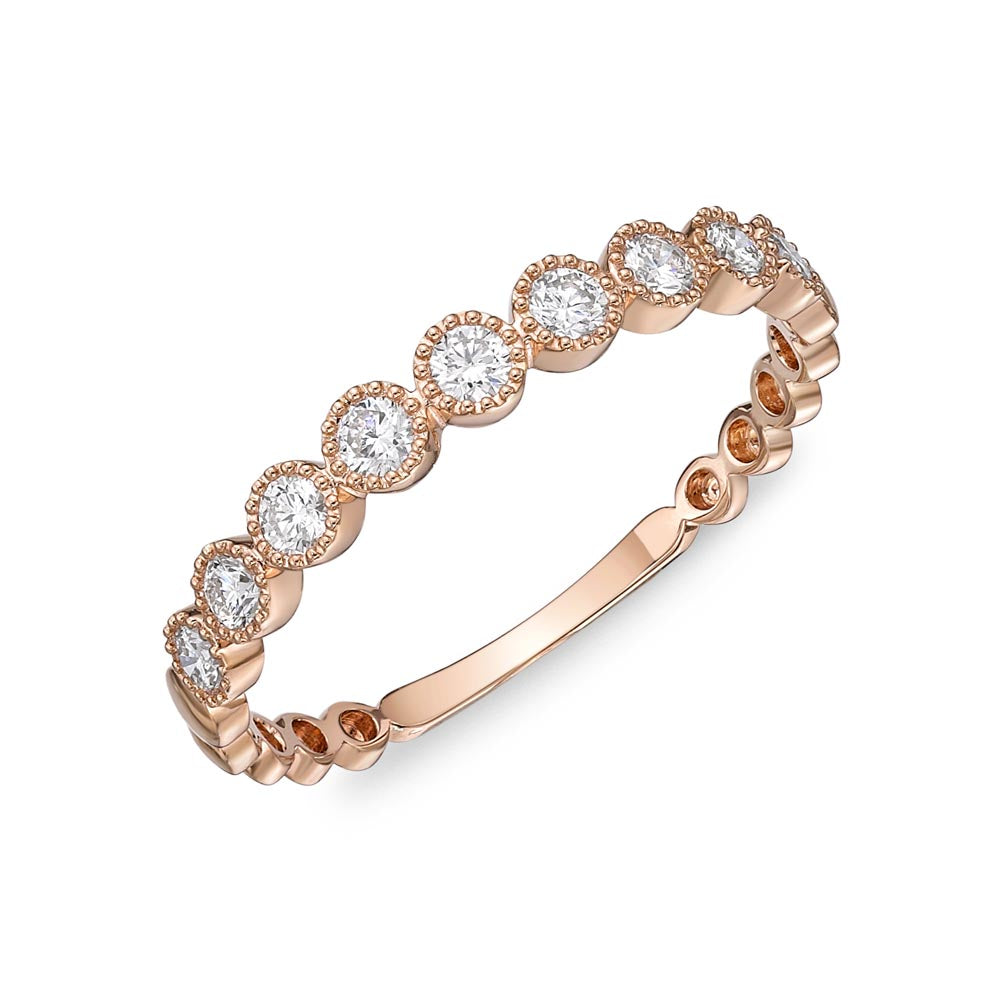 Memoire Stack'em Up Rose Gold Round Bands|Rings (0.28 ctw)