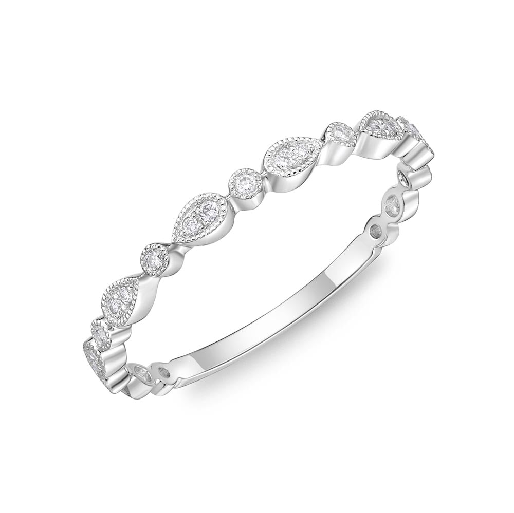 Memoire Stack'em Up White Gold Round Bands|Rings (0.07 ctw)