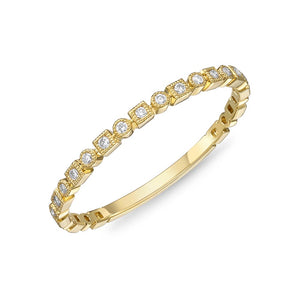 Memoire Stack'em Up Yellow Gold Round Bands|Rings (0.08 ctw)