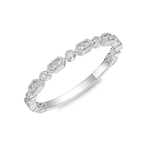 Memoire Stack'em Up White Gold Round Bands|Rings (0.06 ctw)