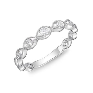Memoire Stack'em Up White Gold Round Bands|Rings (0.23 ctw)