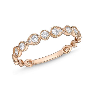 Memoire Stack'em Up Rose Gold Round Bands|Rings (0.21 ctw)