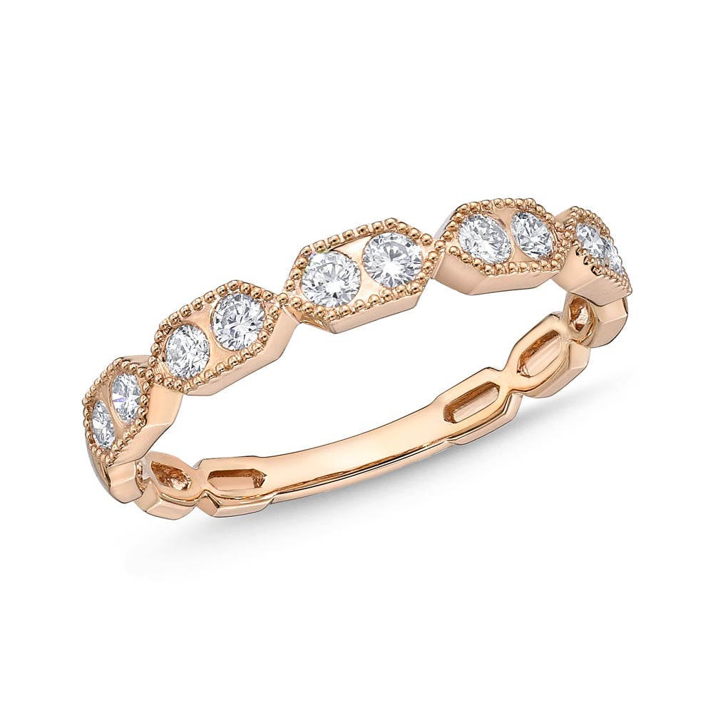 Memoire Stack'em Up Rose Gold Round Bands|Rings (0.31 ctw)