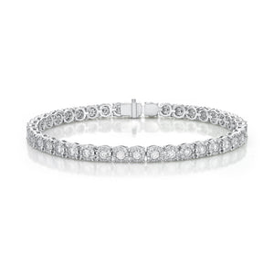 Memoire Diamond Bouquets White Gold Round Diamond Bracelet (5.6 ctw)