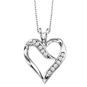 Silver and Diamond Heart Pendant (0.02 CTW)