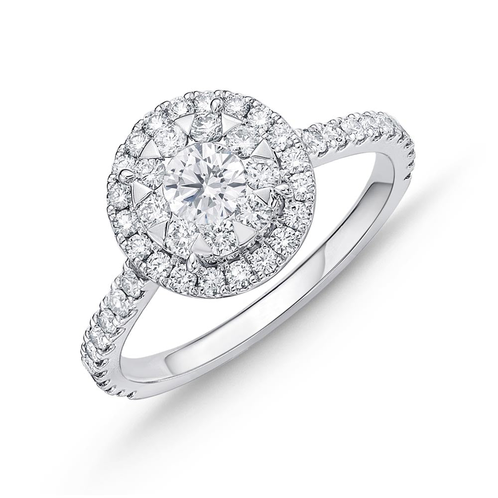 Memoire Diamond Bouquets White Gold Round Engagement Rings (0.94 ctw)