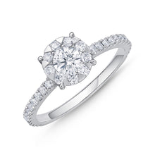 Load image into Gallery viewer, Memoire Diamond Bouquets White Gold Round Engagement Rings (0.46 ctw)