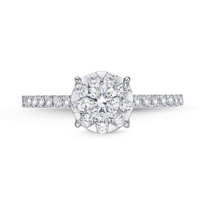 Memoire Diamond Bouquets White Gold Round Engagement Rings (0.46 ctw)